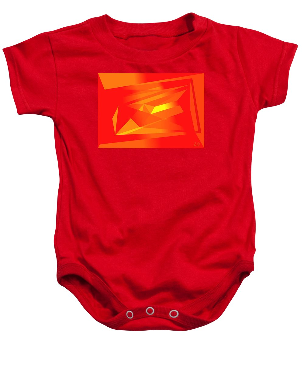 Red Baby Onesie featuring the digital art Yellow In Red by Helmut Rottler