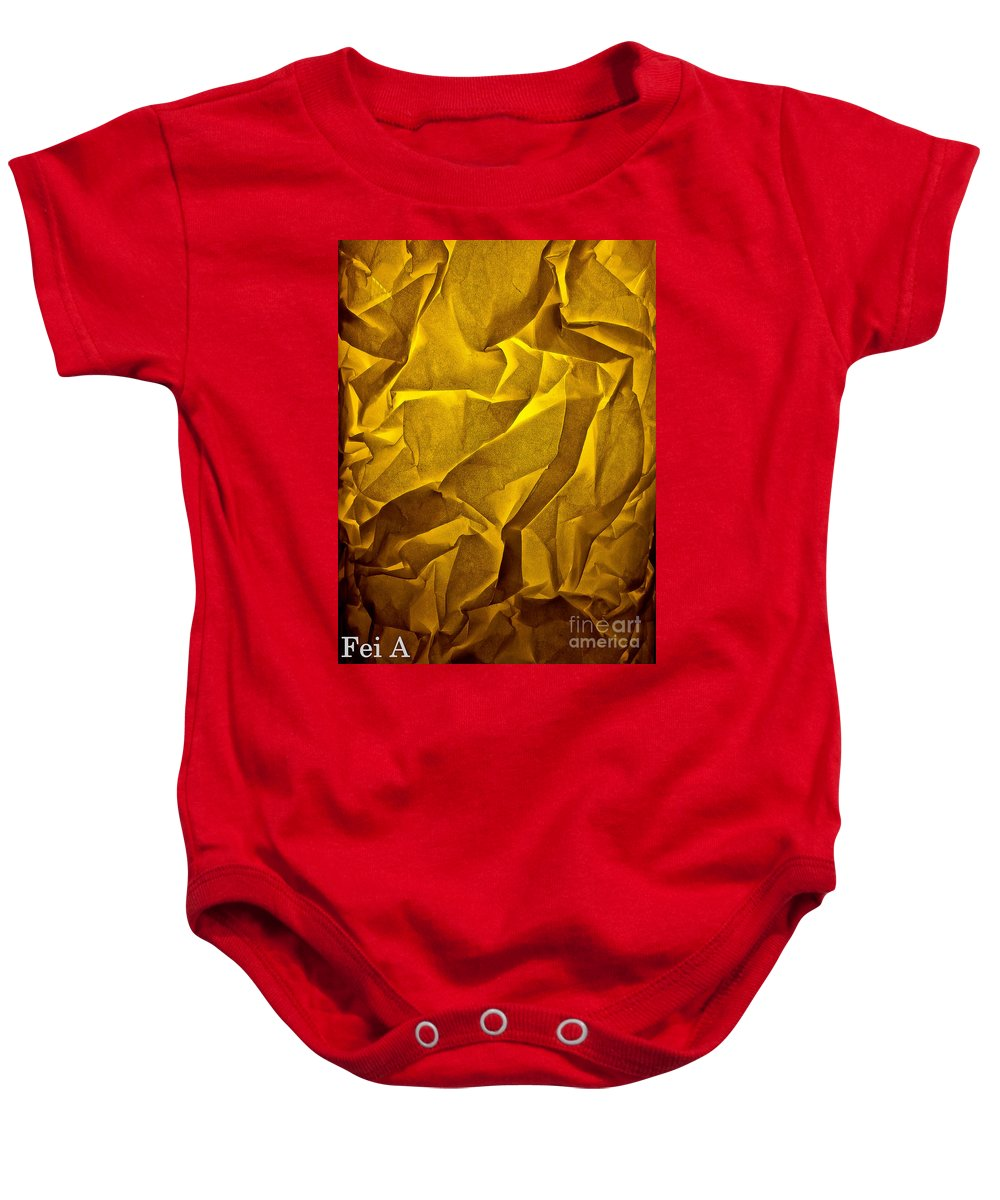 Abstract Baby Onesie featuring the photograph Yellow Sorrow by Fei A