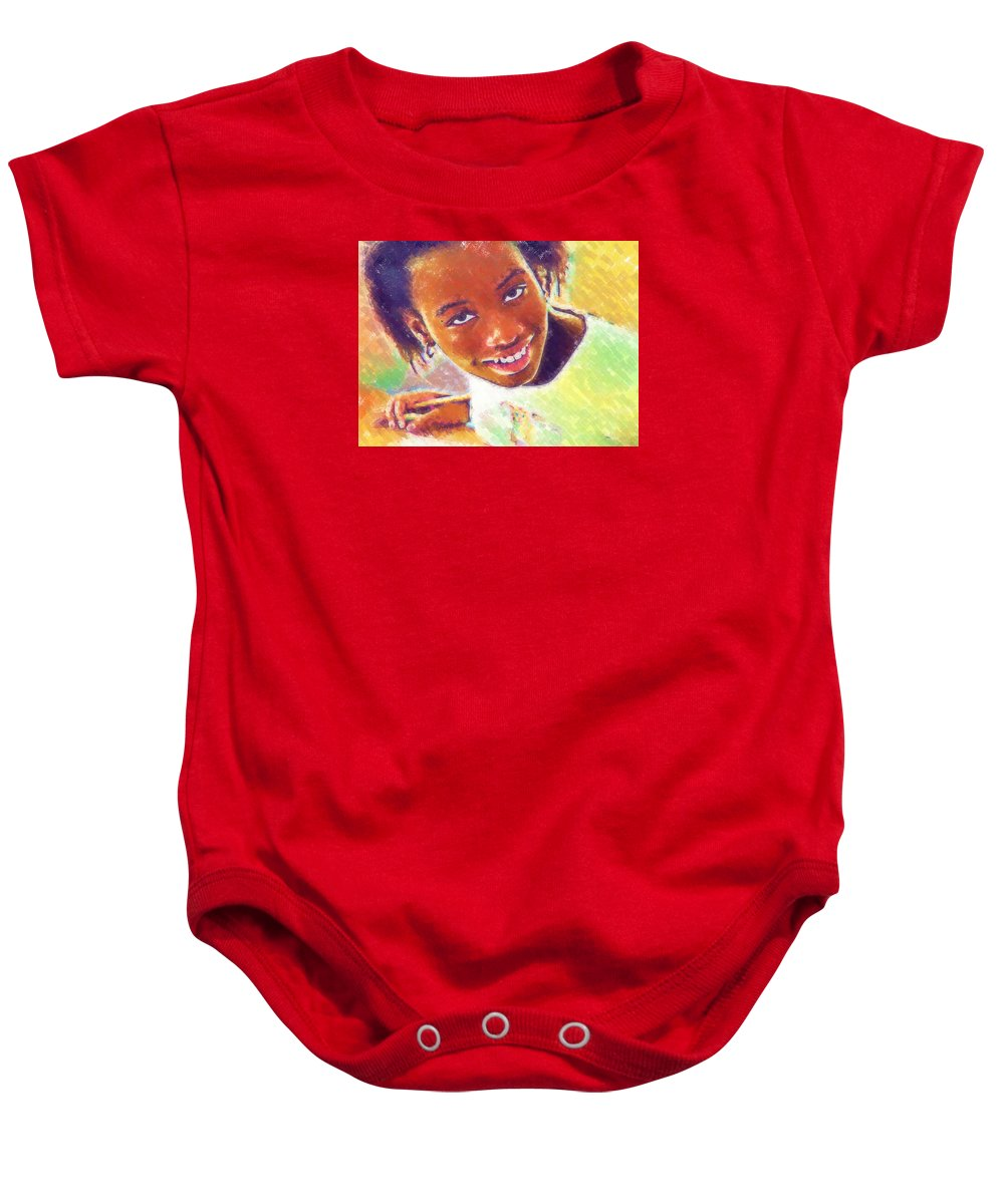 Beautiful Black Children Baby Onesie featuring the photograph Young Black Female Teen 5 by Ginger Wakem