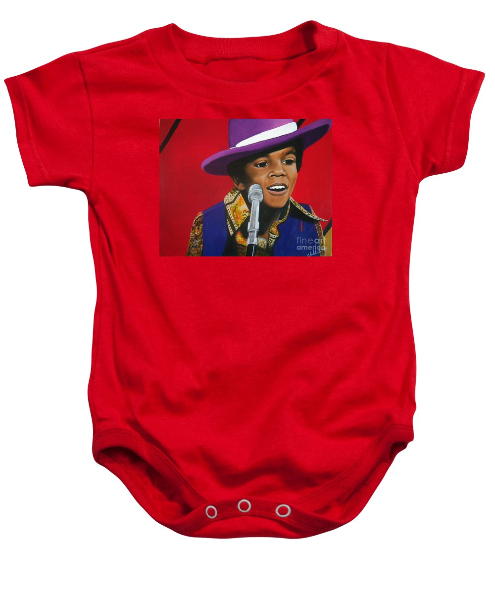 Prodigy Baby Onesie featuring the painting Young Michael Jackson Singing by Chelle Brantley