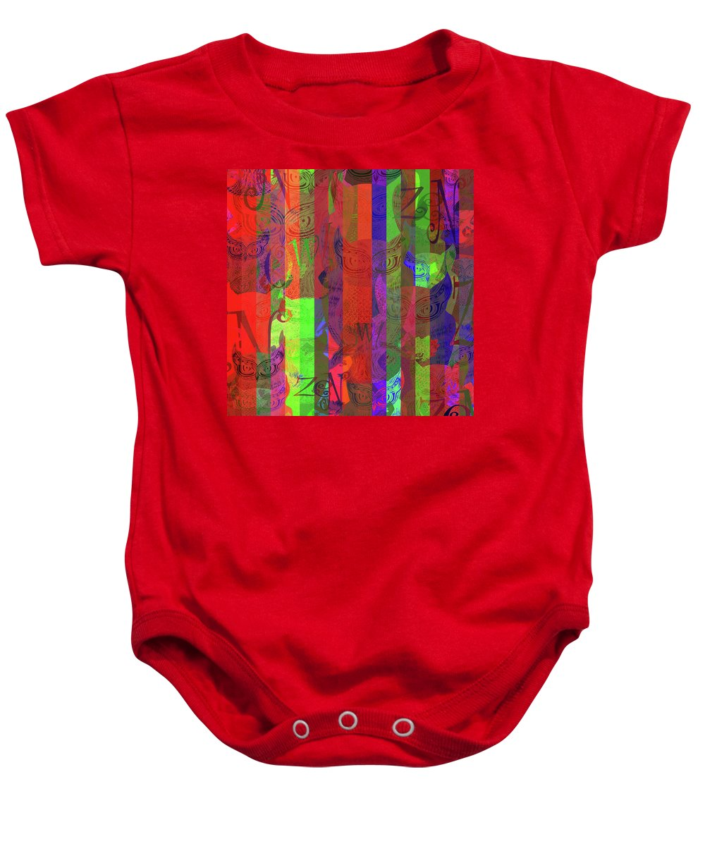 Baby Onesie featuring the mixed media Zen Owl Abundance by Wagl Store