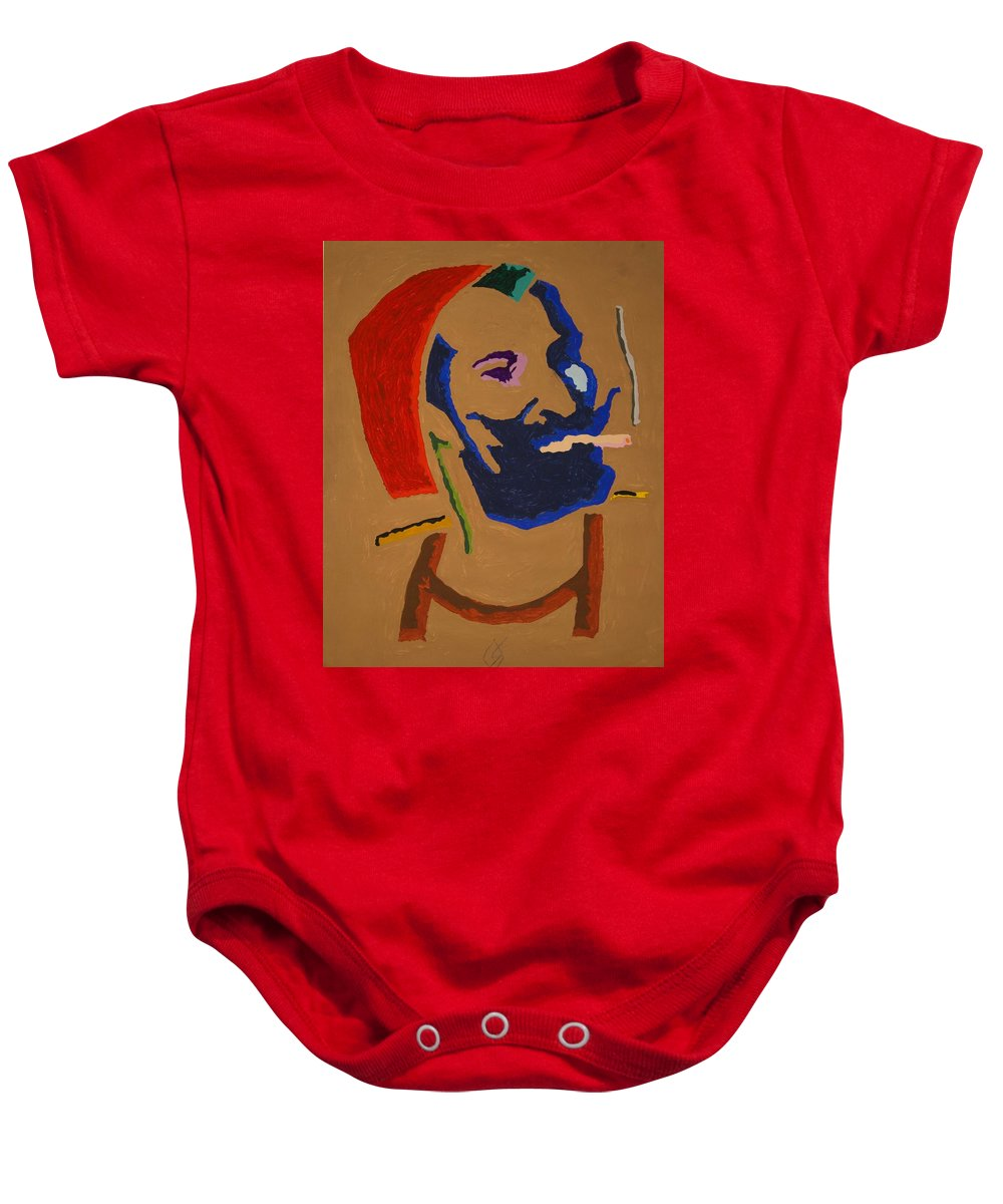 Zig Zag Man Baby Onesie featuring the painting Brown Zig Zag Man by Stormm Bradshaw
