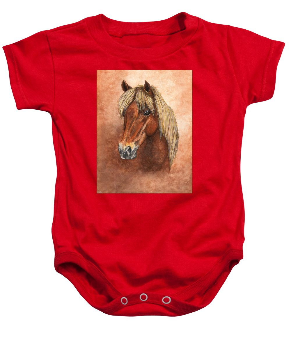Pony Baby Onesie featuring the painting Ziggy by Kristen Wesch