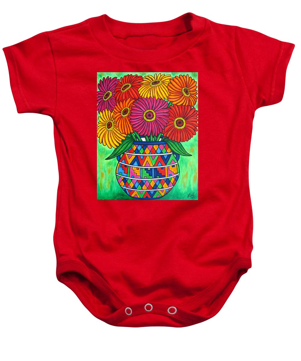 Zinnia Baby Onesie featuring the painting Zinnia Fiesta by Lisa Lorenz