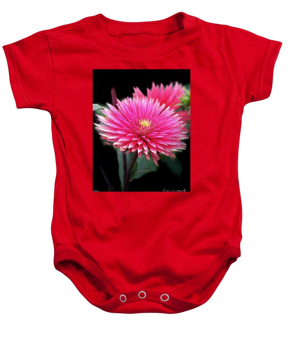 Hot Pink Dahlia Flower Baby Onesie featuring the photograph Hot Pink Dahlia by Susan Garren