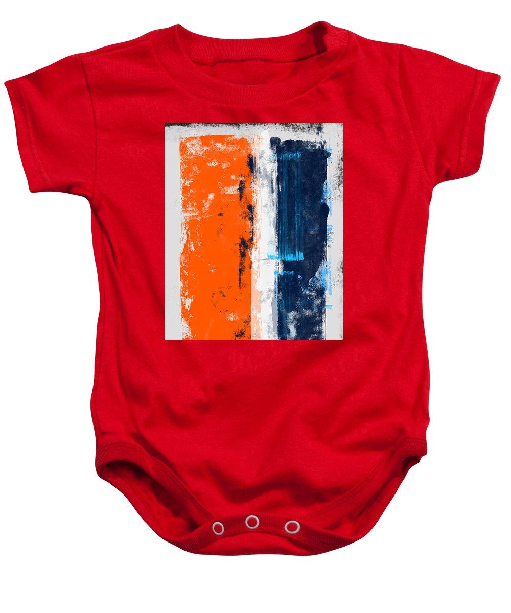 Abstract Baby Onesie featuring the painting Abstract Orange And Blue Study by Naxart Studio