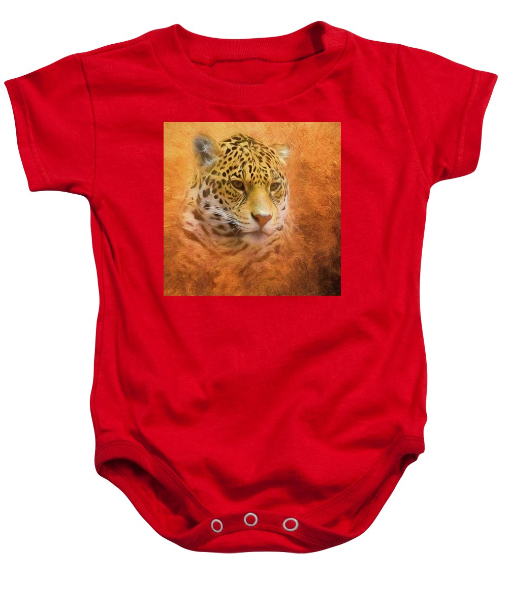 Leopard Baby Onesie featuring the mixed media African Leopard by Steven Richardson