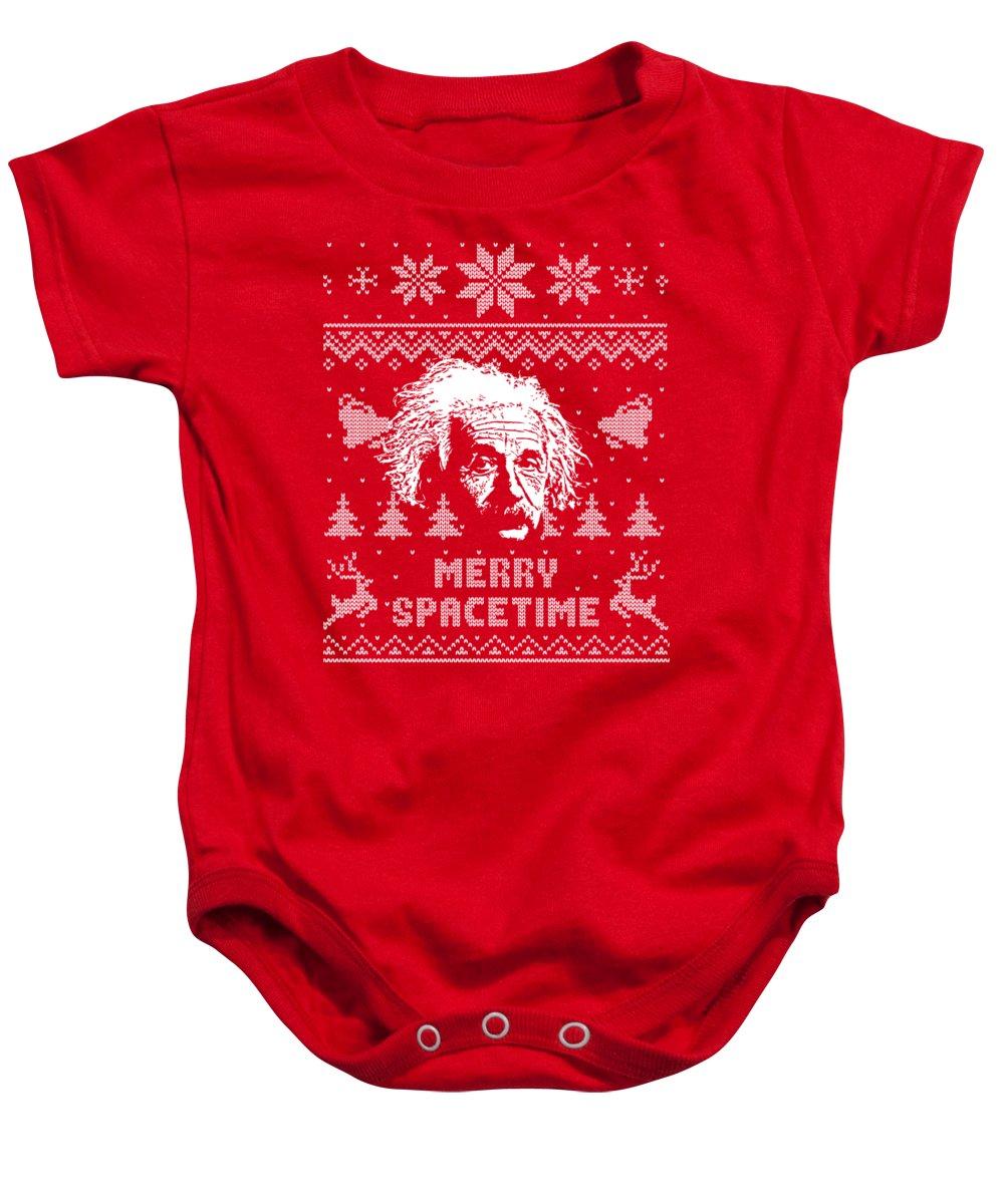 Santa Baby Onesie featuring the digital art Albert Einstein Merry Spacetime by Filip Schpindel