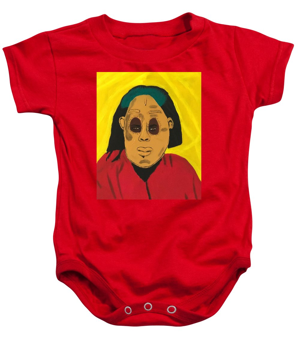 African Baby Onesie featuring the painting Ancestral Spirit by Sonye Locksmith