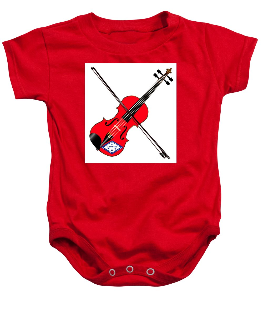 Violin Baby Onesie featuring the digital art Arkansas State Fiddle by Bigalbaloo Stock