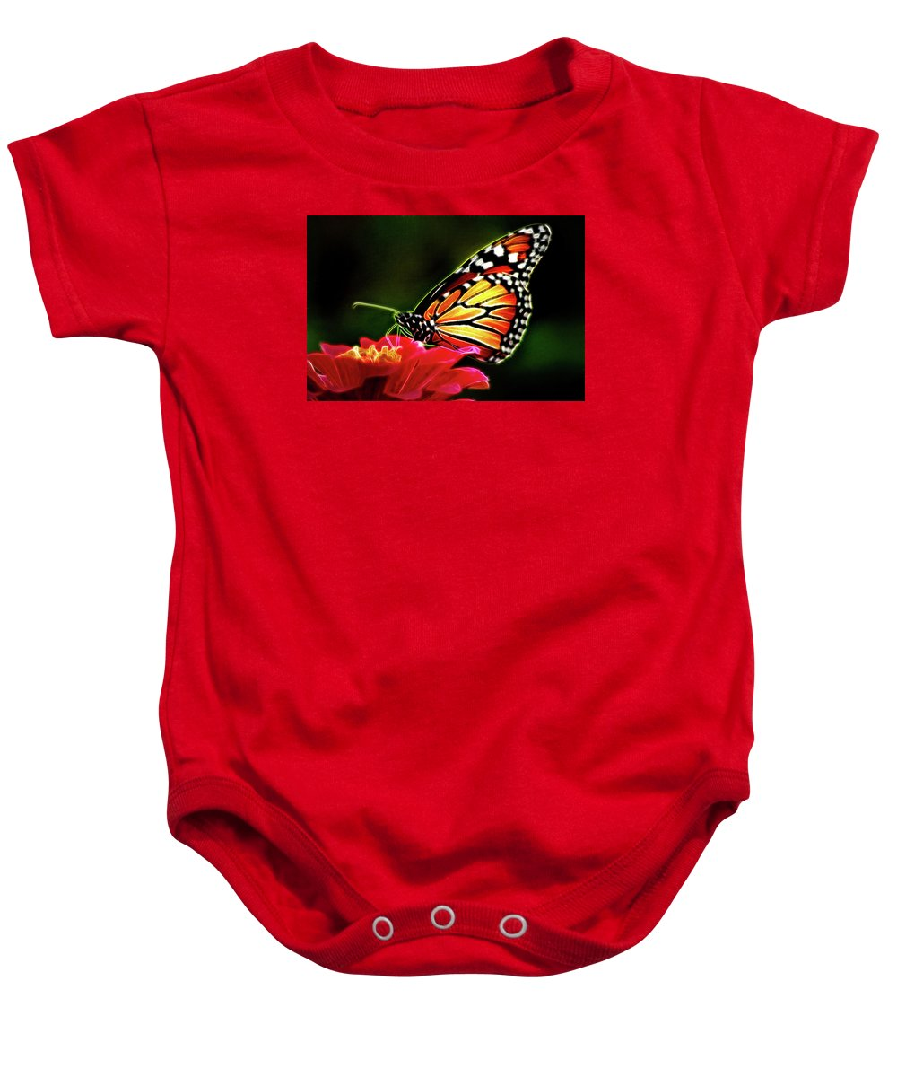 Animal Baby Onesie featuring the photograph Artistic Monarch by Don Johnson