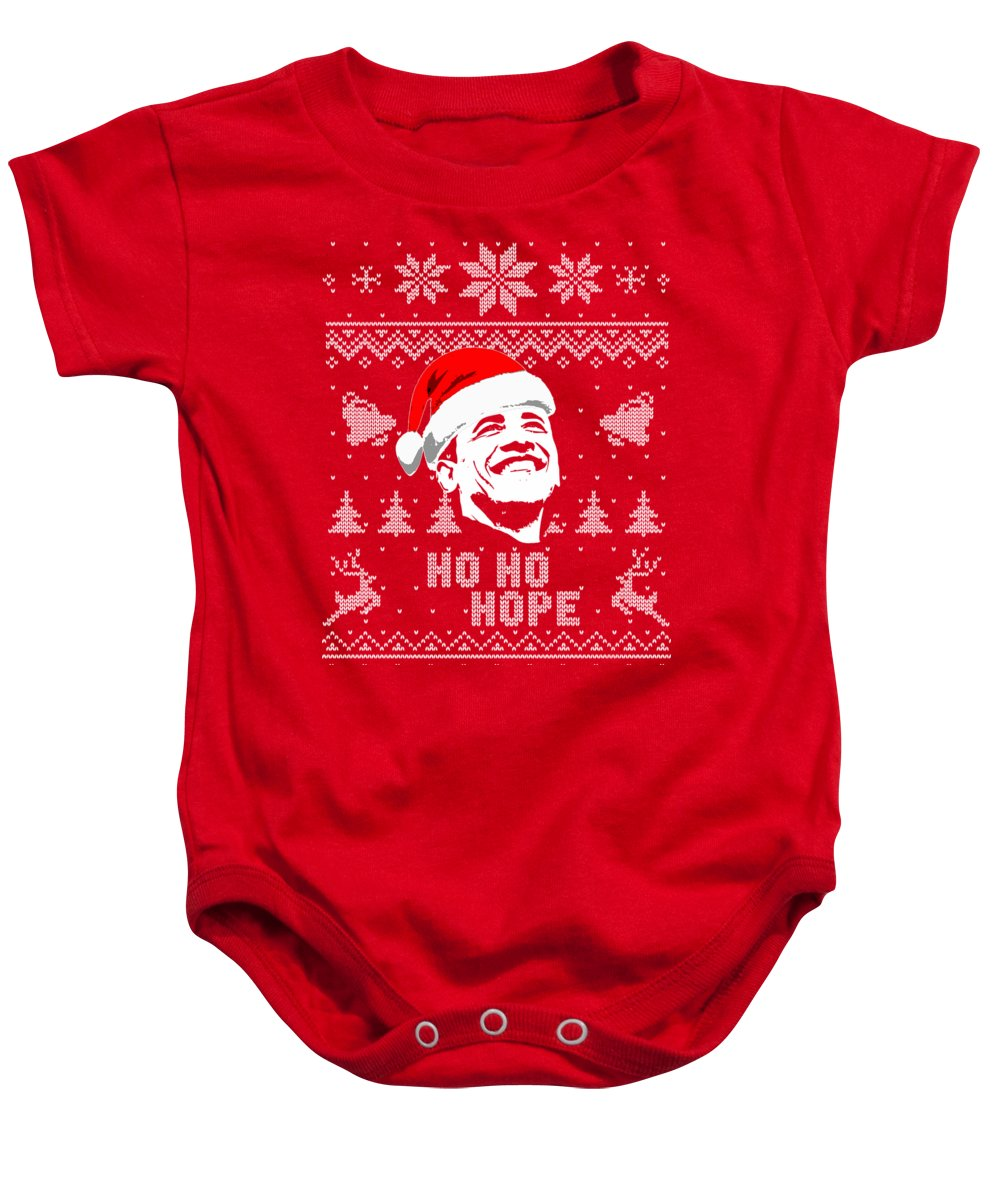 Obama Baby Onesie featuring the digital art Barack Obama Ho Ho Hope Christmas by Filip Schpindel