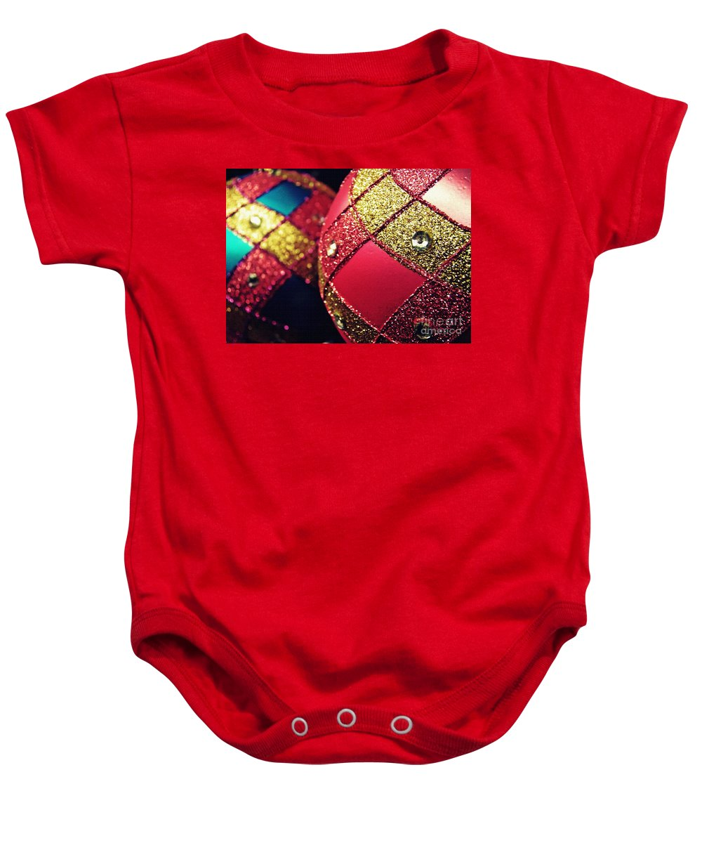 Ornament Baby Onesie featuring the photograph Christmas Abstract 18 by Sarah Loft