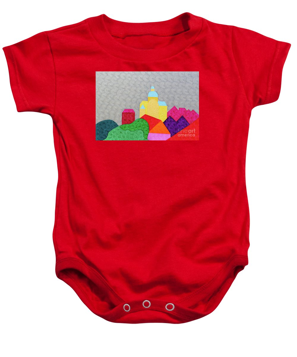 Brightcolor Baby Onesie featuring the painting City 1 by Natalia Lvova