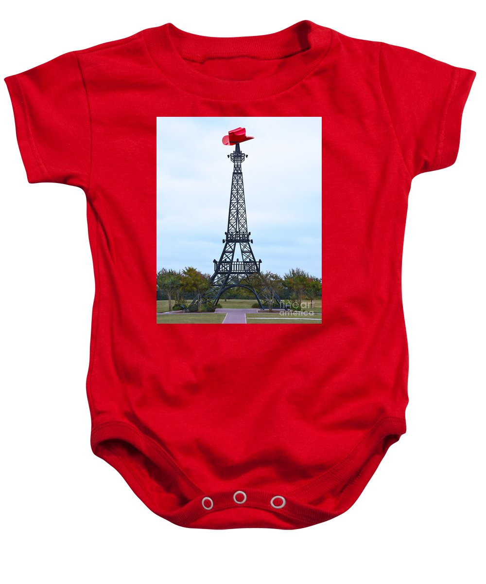 Paris Baby Onesie featuring the photograph Eiffel Tower In Paris Texas by Catherine Sherman