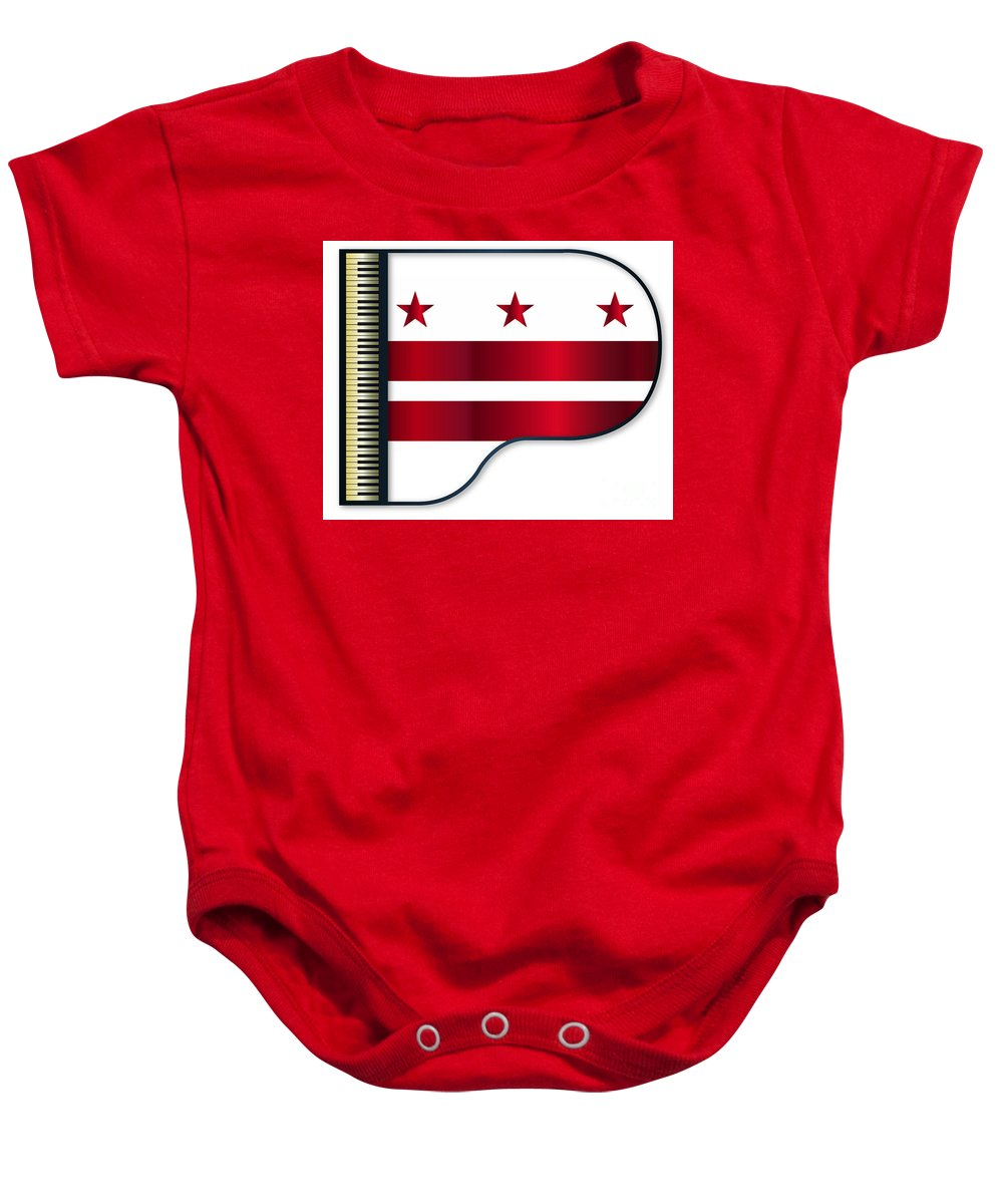 Grand Baby Onesie featuring the digital art Grand Piano Washington Dc Flag by Bigalbaloo Stock