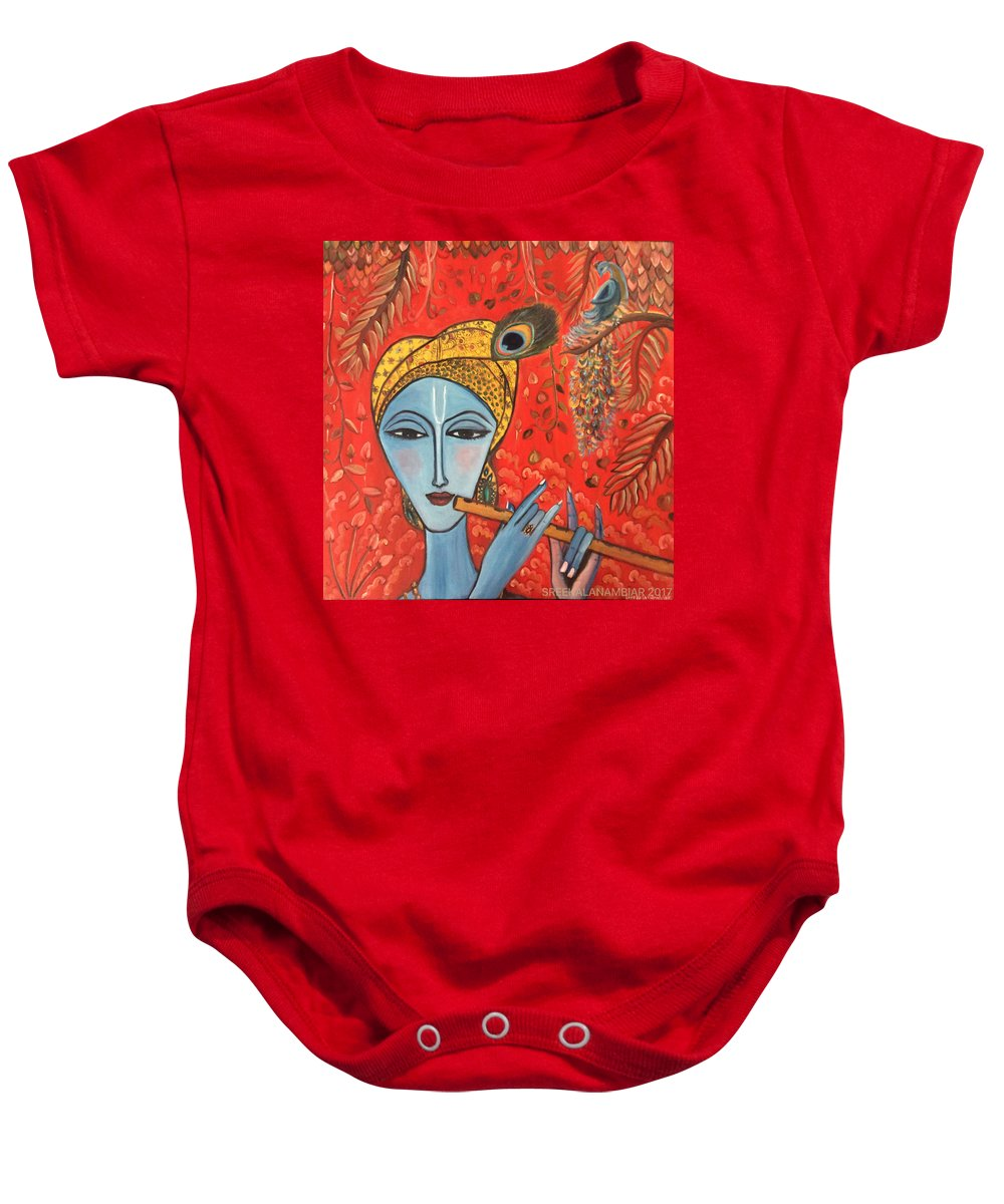 Krishna Baby Onesie featuring the painting Krishna With Flute by Sreekala Nambiar