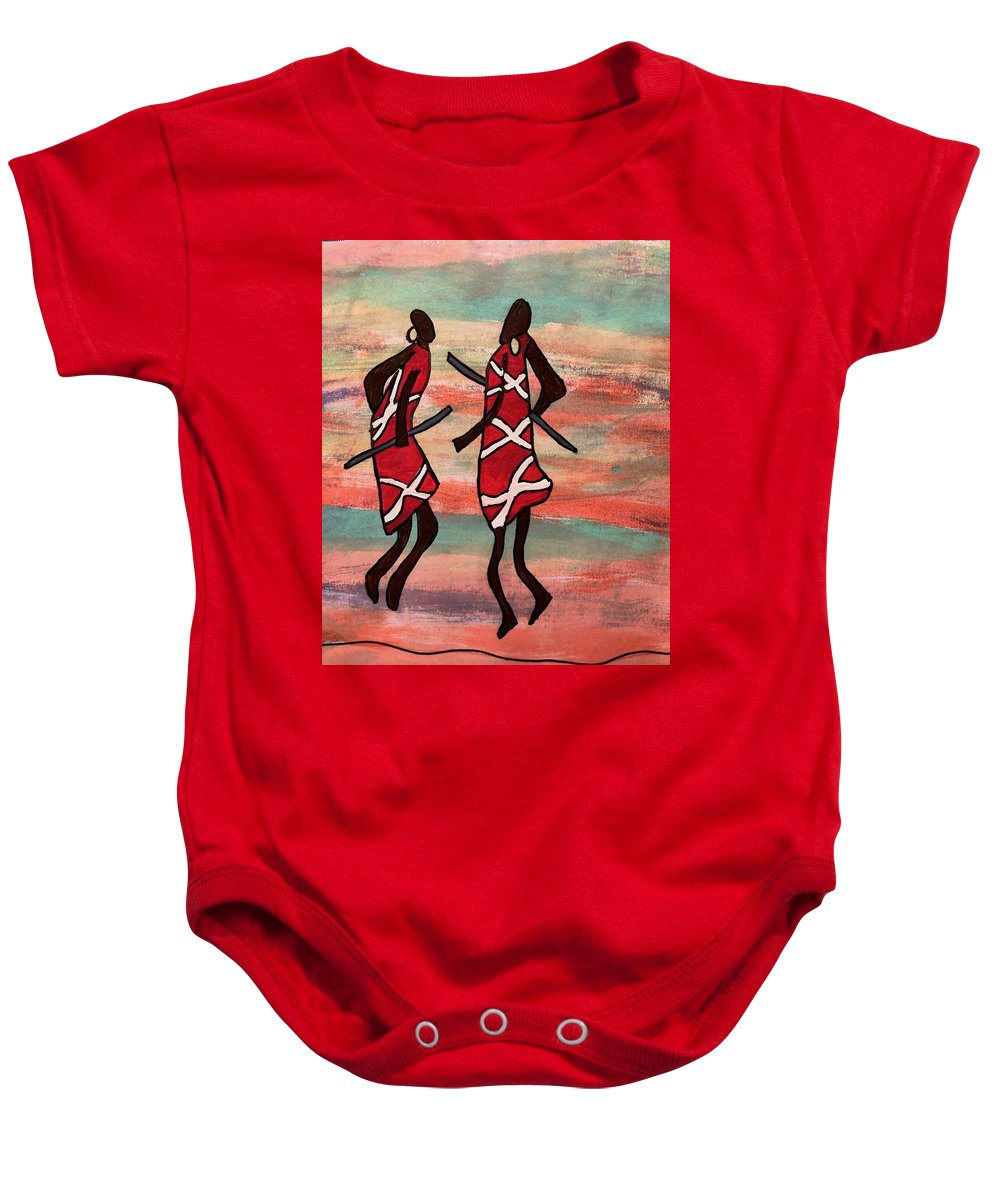 Whimsical Baby Onesie featuring the painting Maasai Dancers by Caleb Griswold