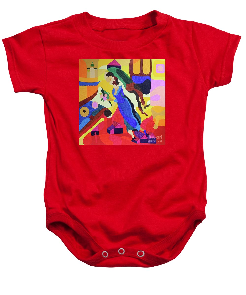 Twiddleart Baby Onesie featuring the painting Marc And Bella Chagall by Natalia Lvova