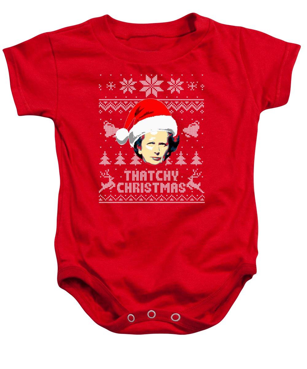Santa Baby Onesie featuring the digital art Margaret Thatcher Thatchy Christmas by Filip Schpindel