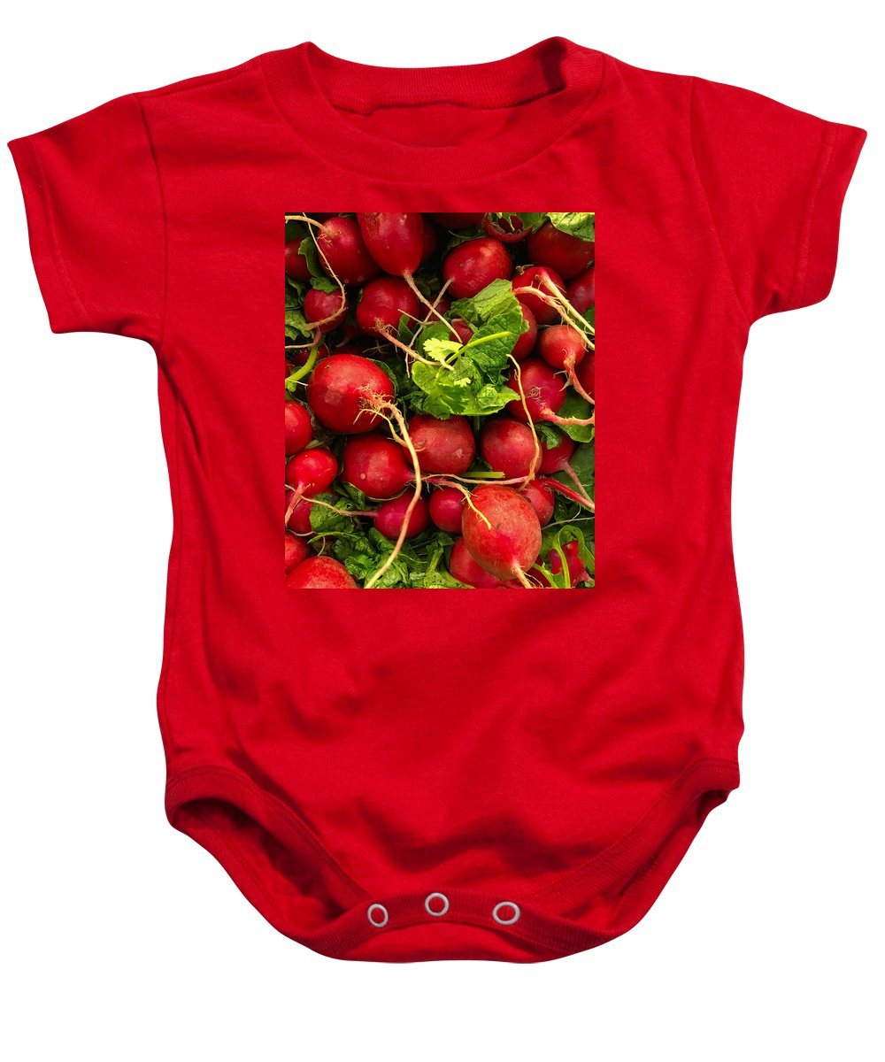 Radishes Baby Onesie featuring the photograph Red Radishes by Nathan Little