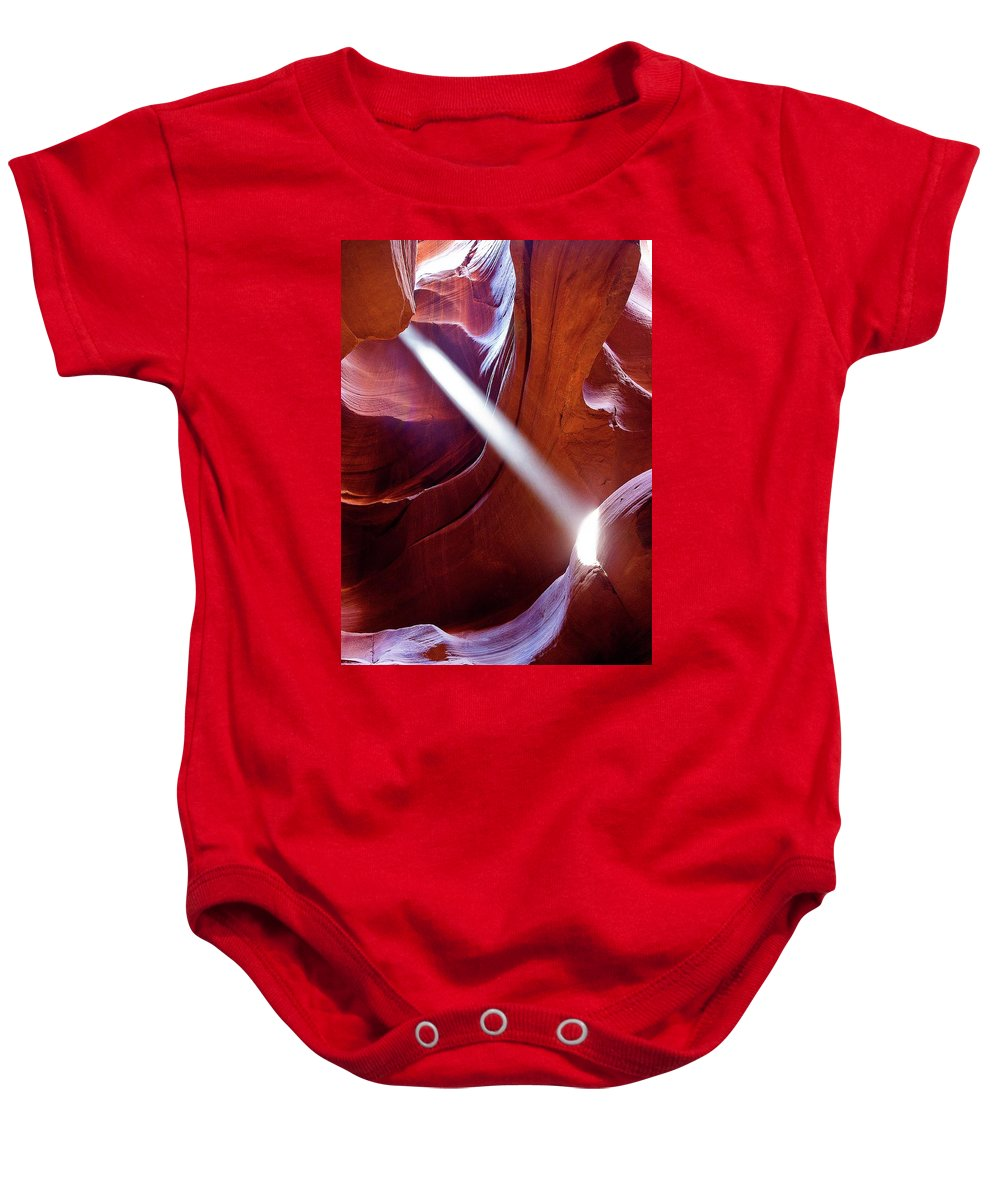 Antelope Canyon Baby Onesie featuring the photograph Sharp Light by Dora Artemiadi