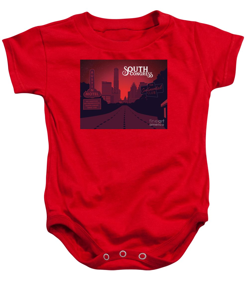 South Congress Avenue Baby Onesie featuring the painting South Congress Avenue by Say Cheese Austin