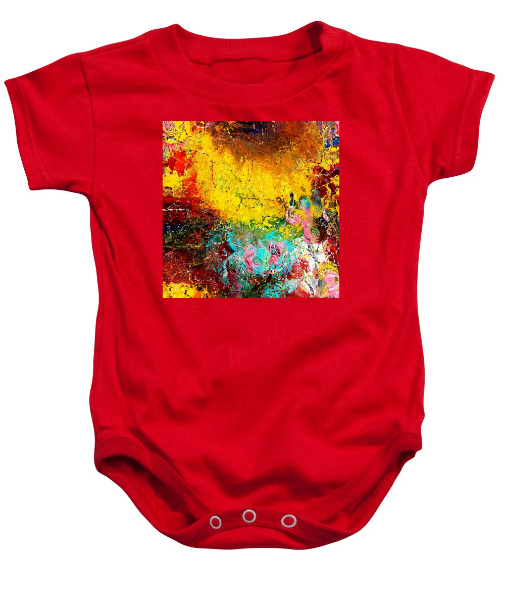 Abstract Baby Onesie featuring the painting Sunny Abstract Garden by Natalie Holland
