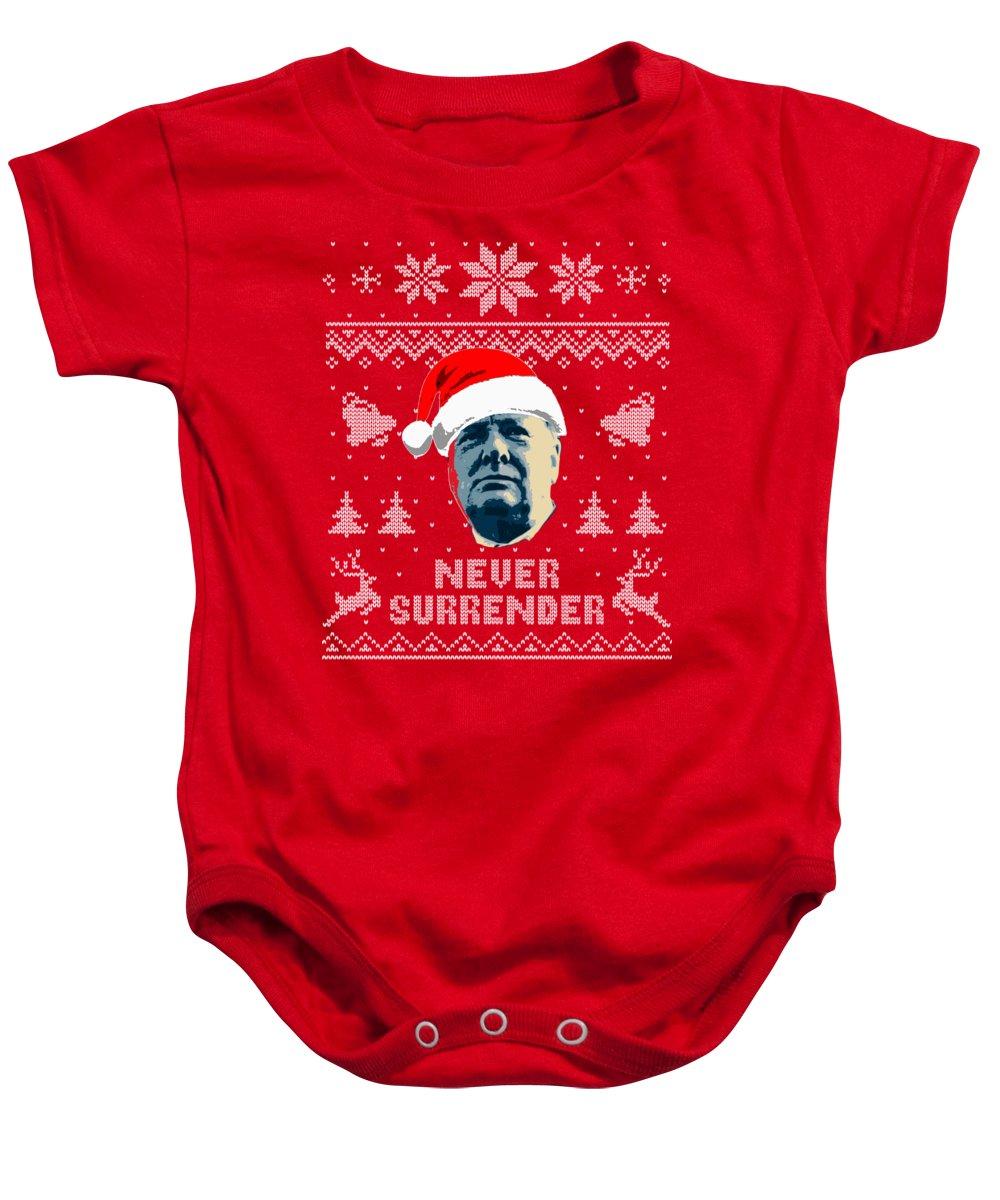 Christmas Baby Onesie featuring the digital art Winston Churchill Never Surrender Christmas by Filip Schpindel
