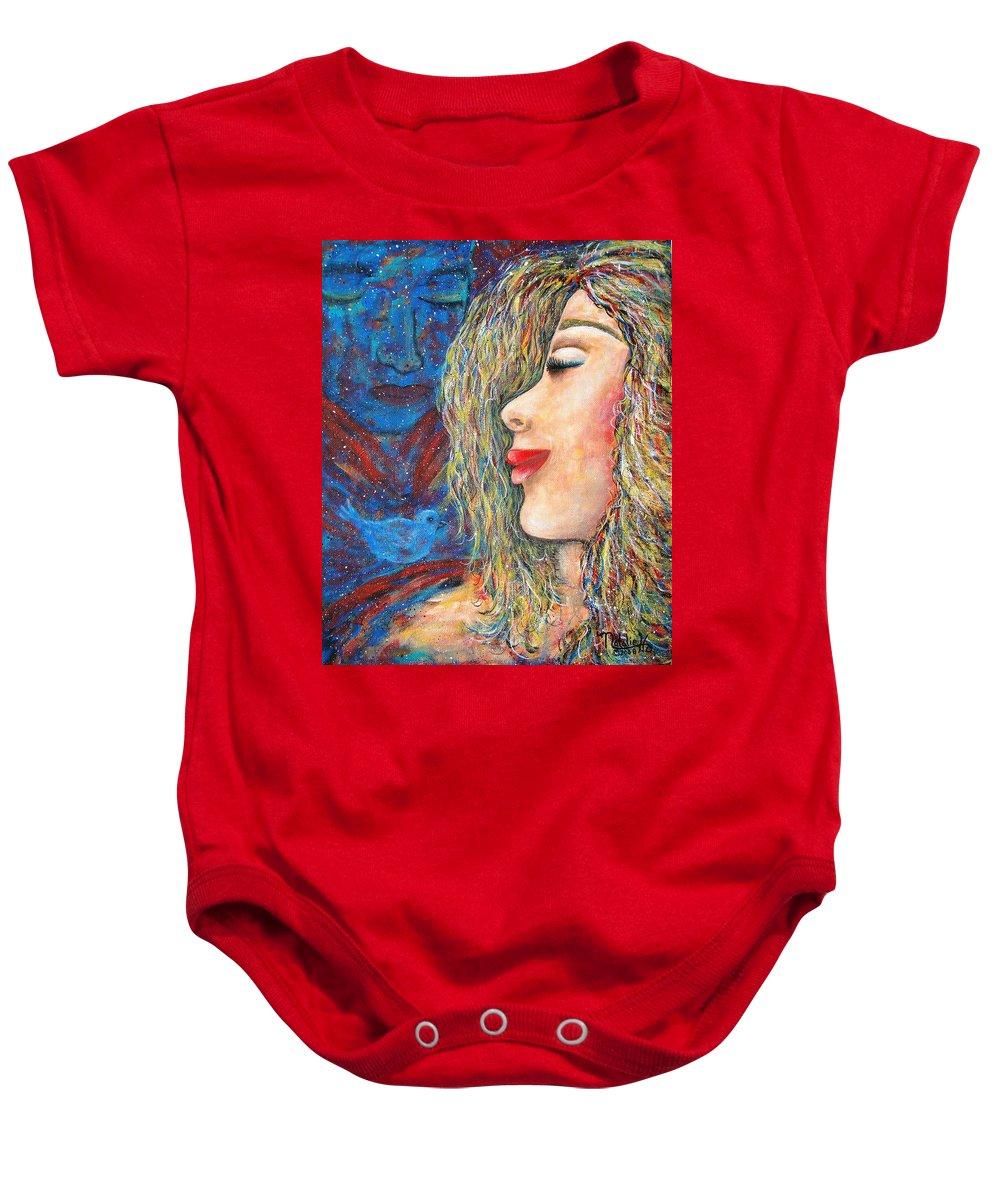 Man Baby Onesie featuring the painting Blue Bird Blue Bird by Natalie Holland