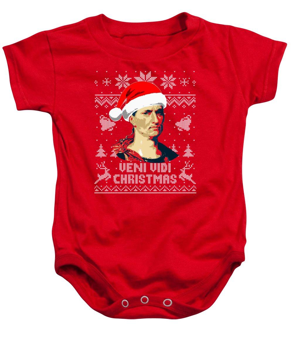 Julius Baby Onesie featuring the digital art Julius Caesar Veni Vidi Christmas by Filip Schpindel