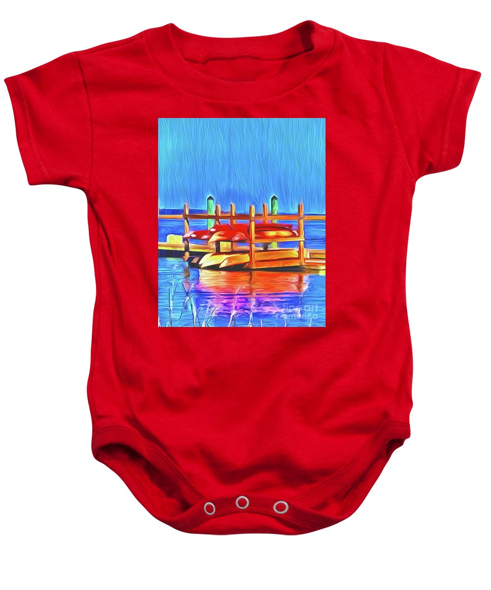 Landscape Baby Onesie featuring the digital art Patiently Waiting by Michael Stothard