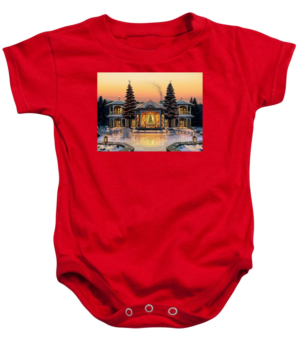 Christmas Baby Onesie featuring the painting A Warm Home For The Holidays by Stu Shepherd