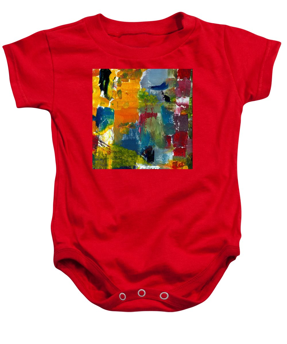Abstract Collage Baby Onesie featuring the painting Abstract Color Relationships ll by Michelle Calkins