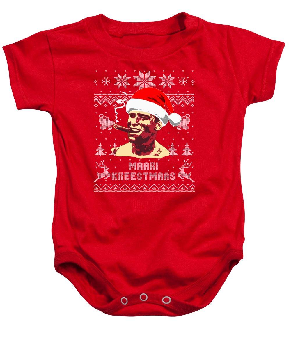 Santa Baby Onesie featuring the digital art Arnold Schwarzenegger Merry Christmas by Filip Schpindel
