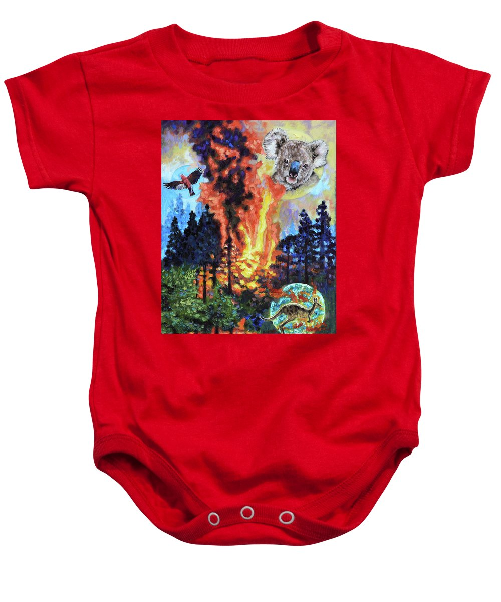 Fire Baby Onesie featuring the painting Australia's on Fire by John Lautermilch