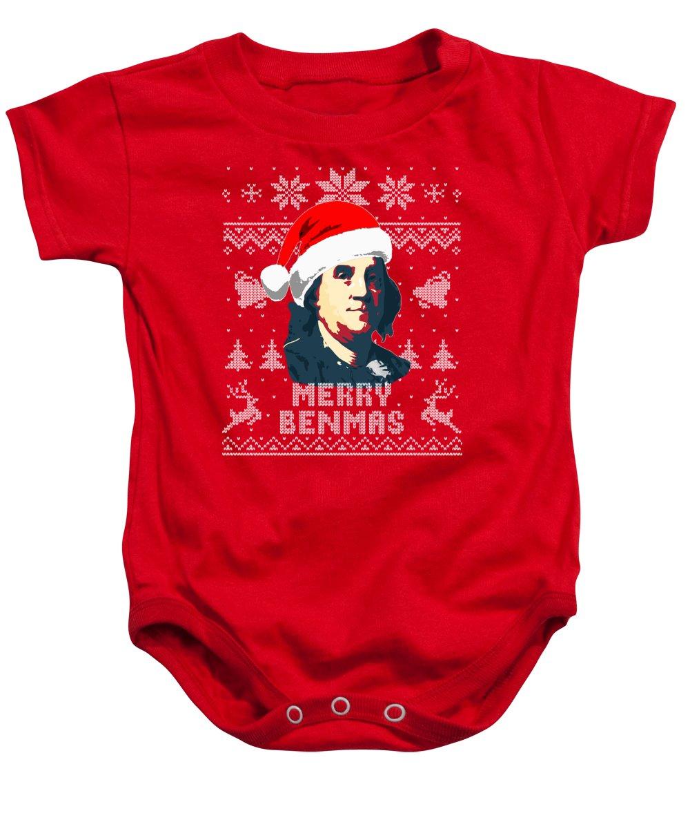 Santa Baby Onesie featuring the digital art Benjamin Franklin Merry Benmas by Filip Schpindel