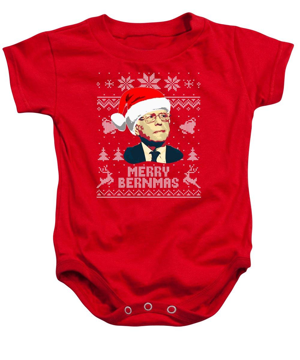 Santa Baby Onesie featuring the digital art Bernie Sanders Merry Bernmas by Filip Schpindel