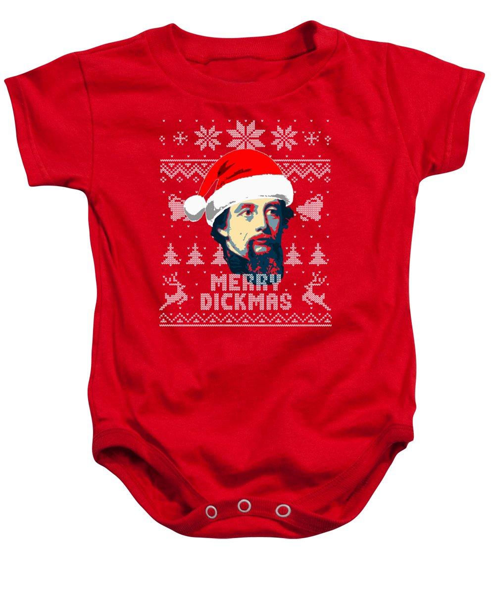 Santa Baby Onesie featuring the digital art Charles Dickens Merry Dickmas by Filip Schpindel