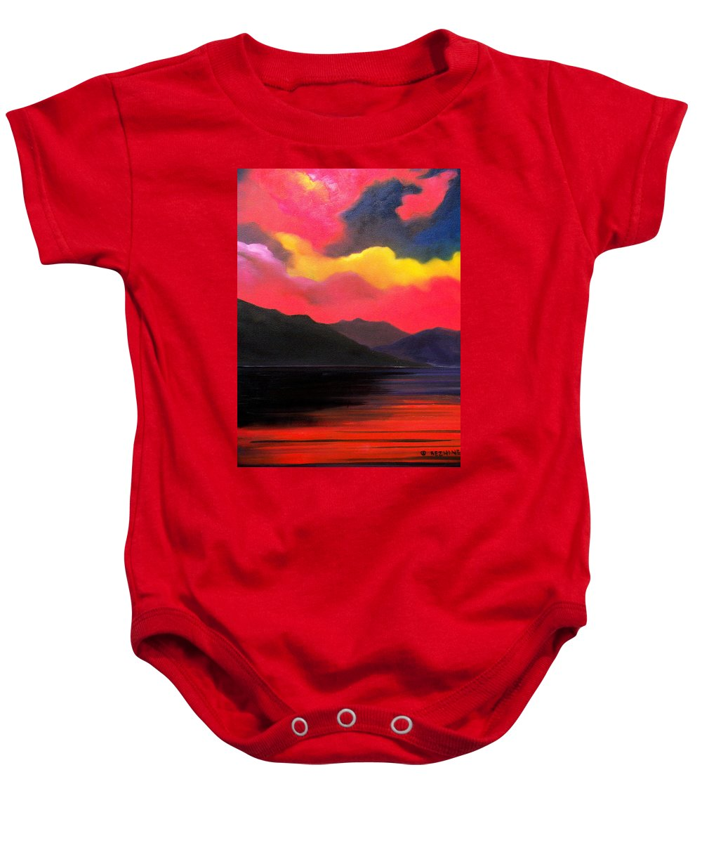 Surreal Baby Onesie featuring the painting Crimson clouds by Sergey Bezhinets