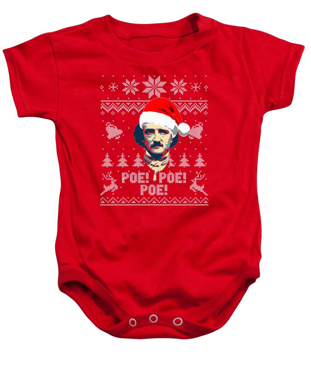 Santa Baby Onesie featuring the digital art Edgar Allan Poe Ho Ho Ho Poe Poe Poe by Filip Schpindel