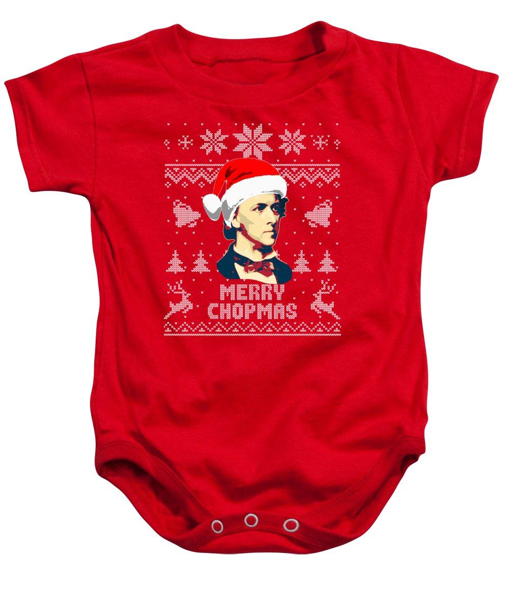 Santa Baby Onesie featuring the digital art Frederick Chopin Merry Chopmas by Filip Schpindel