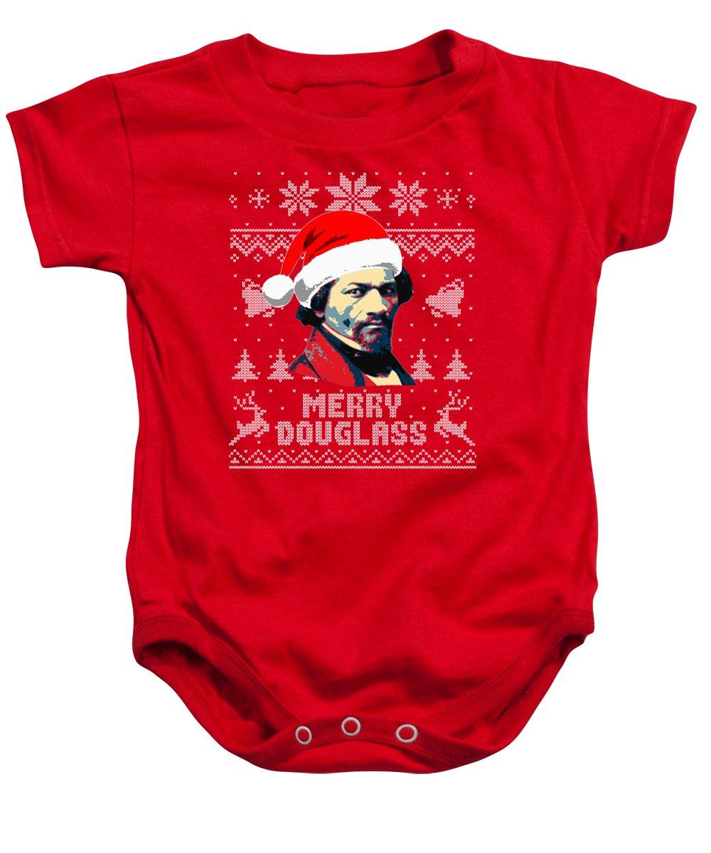 Santa Baby Onesie featuring the digital art Frederick Douglass Merry Douglass by Filip Schpindel