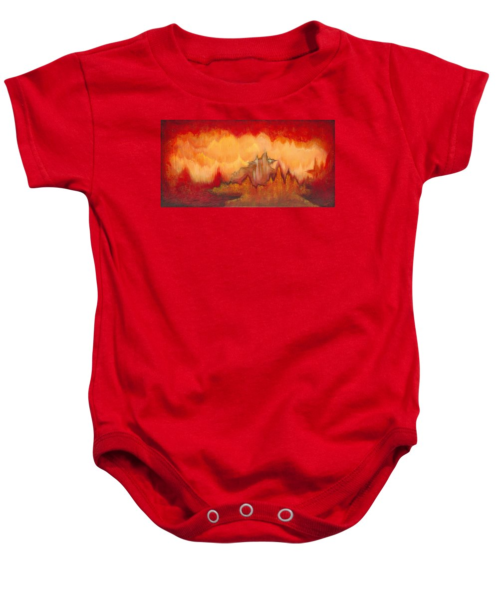 Red Baby Onesie featuring the painting From the Valley by Shadia Derbyshire