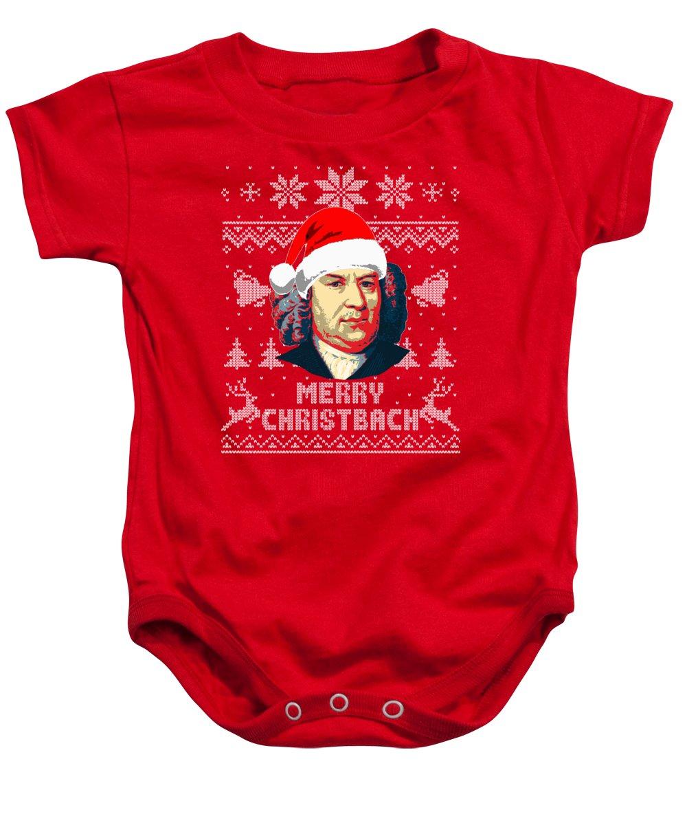 Santa Baby Onesie featuring the digital art Johann Sebastian Bach Merry Christbach by Filip Schpindel