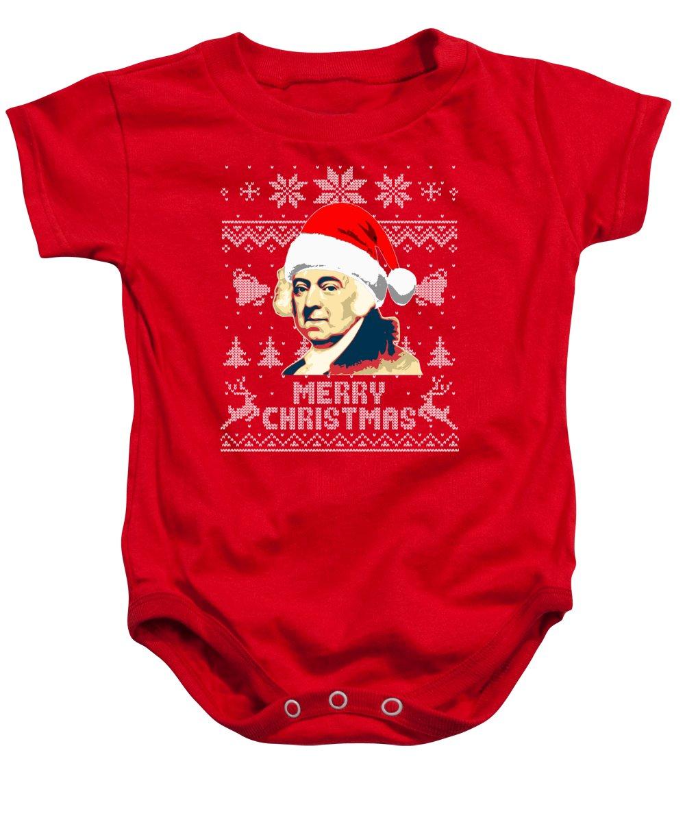 Santa Baby Onesie featuring the digital art John Adams Merry Christmas by Filip Schpindel