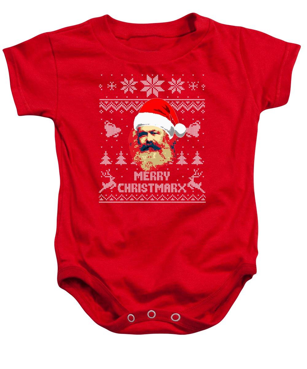 Santa Baby Onesie featuring the digital art Karl Marx Merry Christmarx by Filip Schpindel