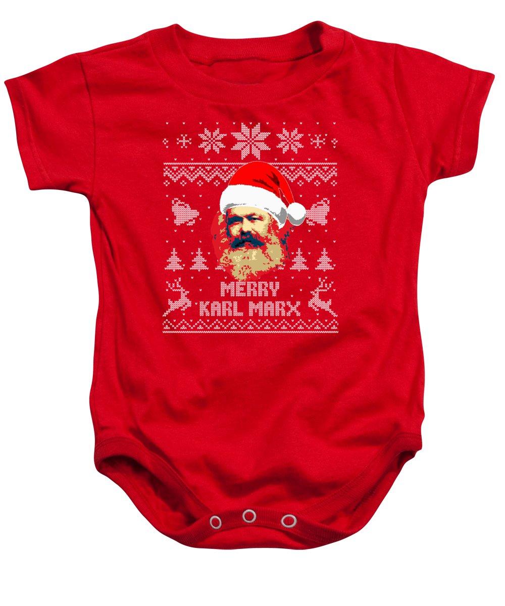 Santa Baby Onesie featuring the digital art Merry Karl Marx by Filip Schpindel