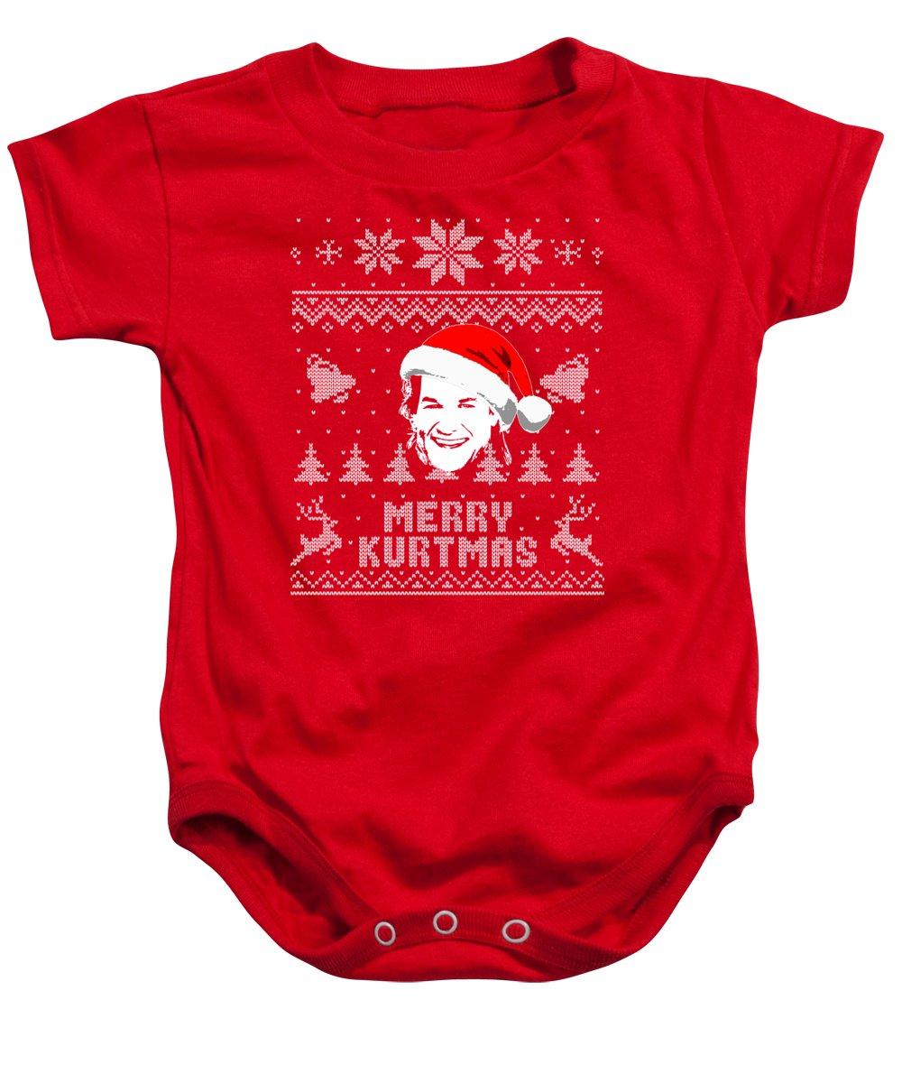 Usa Baby Onesie featuring the digital art Merry Kurtmas Parody Christmas Shirt by Filip Schpindel