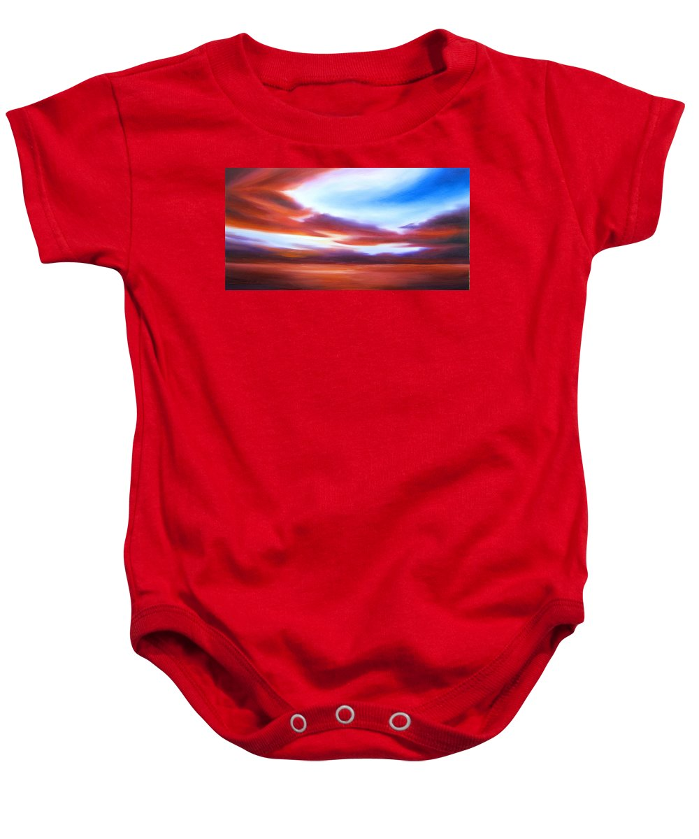 Skyscape Baby Onesie featuring the painting October Sky IV by James Christopher Hill
